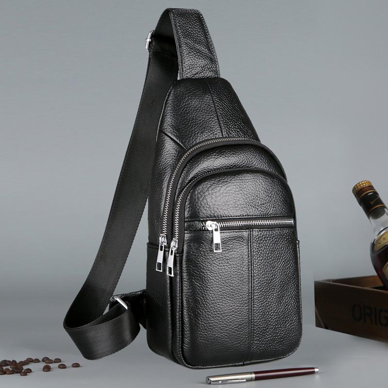 Kangaroo mens chest bag leather mens messenger bag single shoulder layer cowhide single shoulder bag leisure Shoulder Bag Backpack mens