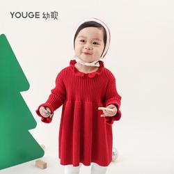 YOUGE幼歌 婴儿冬装宝宝毛衣红色圣诞裙女童针织衫加厚衣服连衣裙