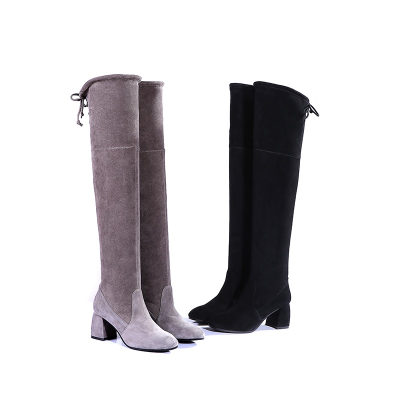 Over knee boots womens high heels winter warm thick heels high boots elastic sheepskin suede sexy
