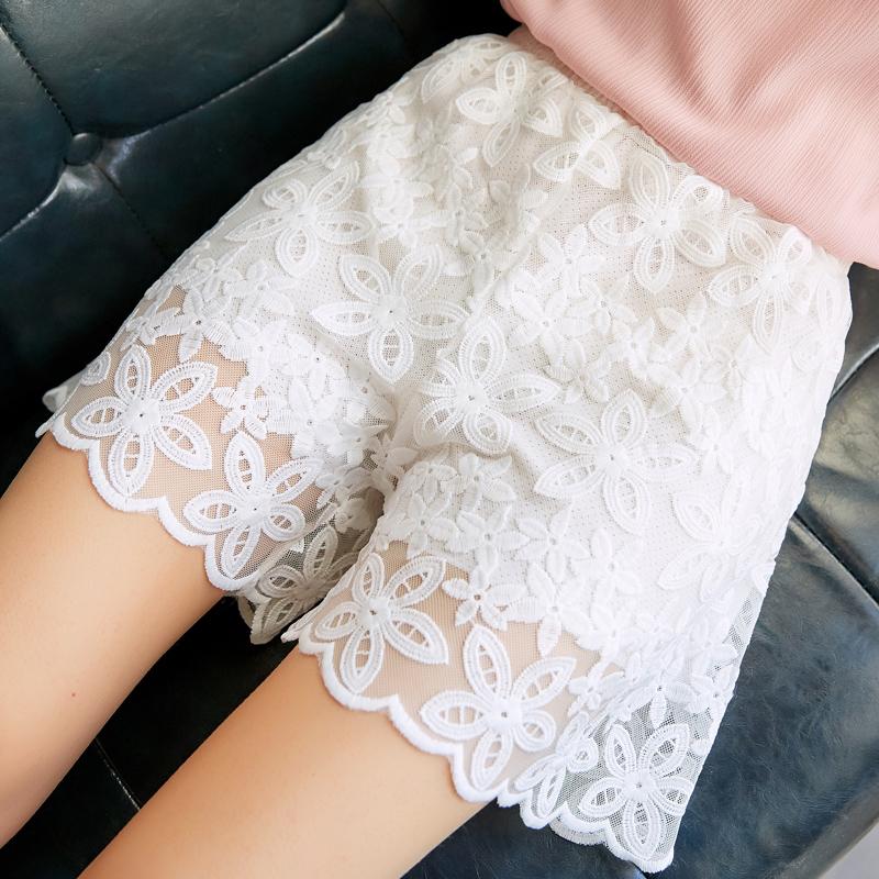 蕾丝花边三分裤夏季大码薄款打底裤女可外穿短裤宽松防走光安全裤热销6件需要用券