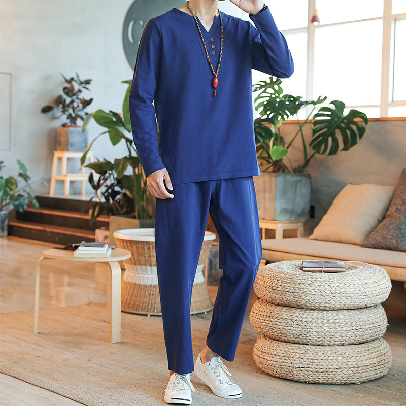 Xz1111-a26-p33 Chinese style V-neck mens suit autumn compound hemp solid color mens long sleeve T-shirt bottom shirt