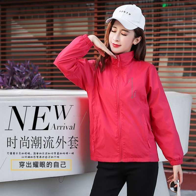 加绒2020新款秋冬季风衣女短外套双层拉链运动夹克薄款透气工作服