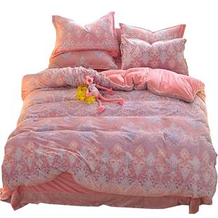 珊瑚绒四件套冬季6d雕花绒床上被套
