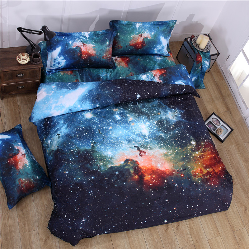 New universe bedding 3D star bed sheet 4-piece quilt cover pillow case 2.0m bed bag dream set fitted sheet