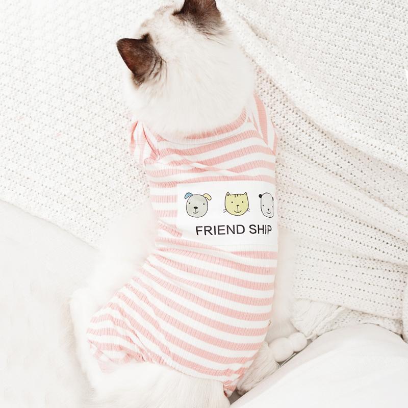 猫咪衣服四脚衣夏季薄款条纹睡衣狗狗猫衣服可爱幼猫小猫泰迪服饰图片