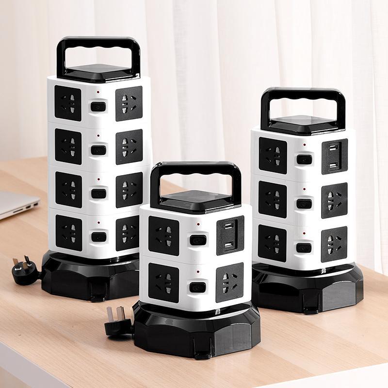 插座面板多孔塔式立式插座智能插排USB充电多功能家用接线板线路隐形带线拖线板独立开关可伸缩旋转过载保护