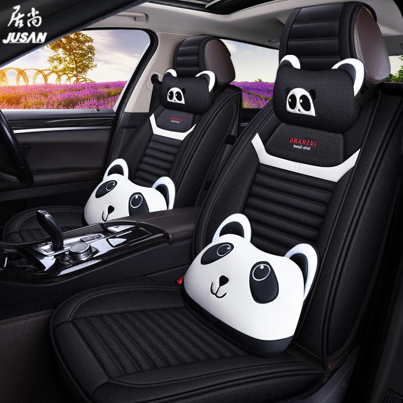 夏季汽车坐垫四季通用全包围布艺座垫专用座椅套亚麻全包座套卡通