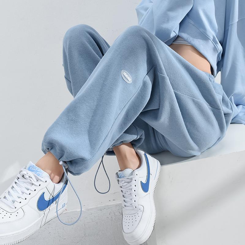 宽松束脚蓝色直筒显瘦夏季春秋裤子好用吗