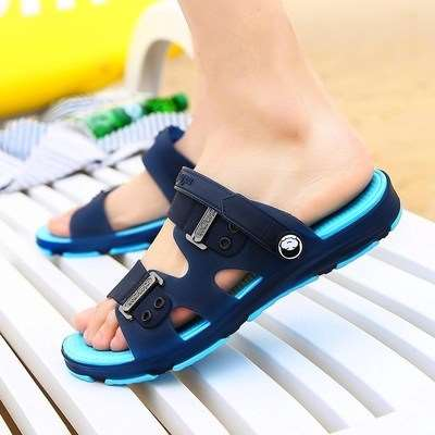 Mens antiskid summer slippers sandals two wear rubber soled mens home youth slippers mens antiskid slippers sandals