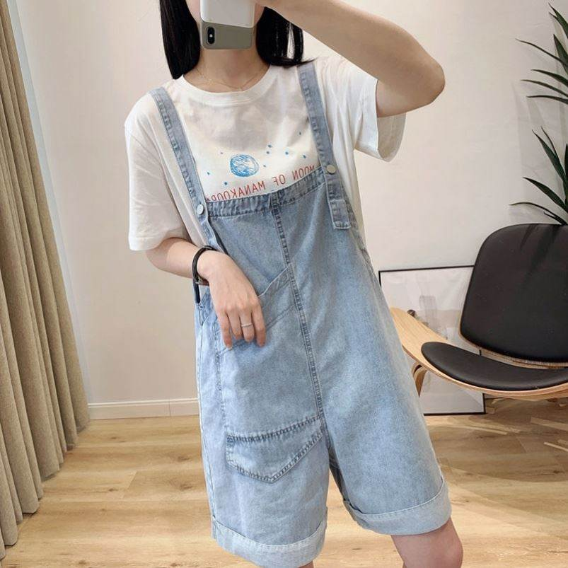 Two sides wear flanging Wide Leg Denim carrying shorts womens summer loose casual big pocket overalls with suspenders