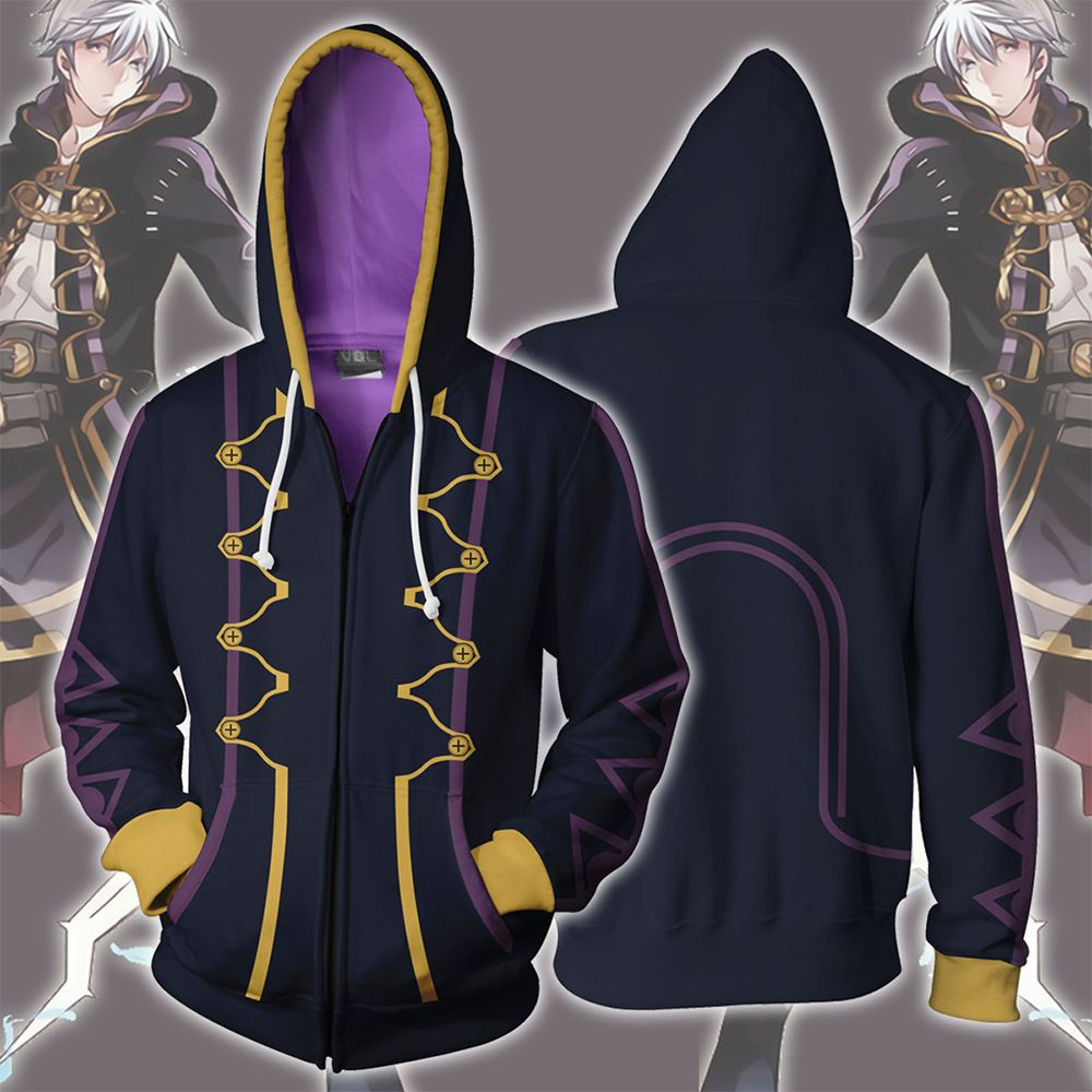 Full color hooded top couple youth brand jacket Robin print cardigan Hoodie cosplay