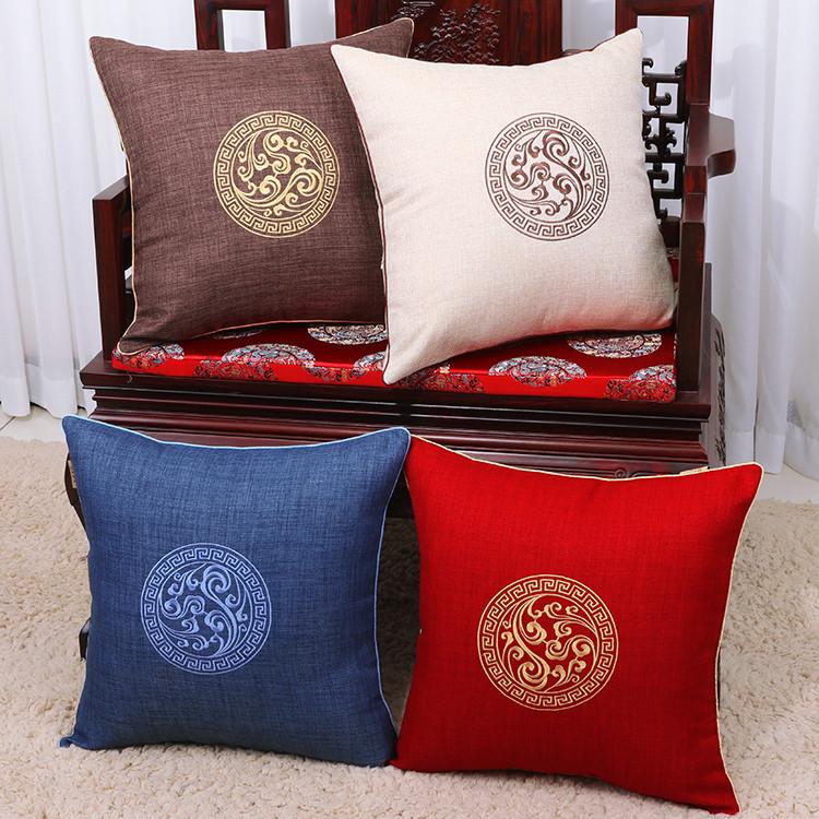 亚麻抱枕沙发中式古典靠垫办公室腰枕床上靠背汽车护腰靠垫含芯