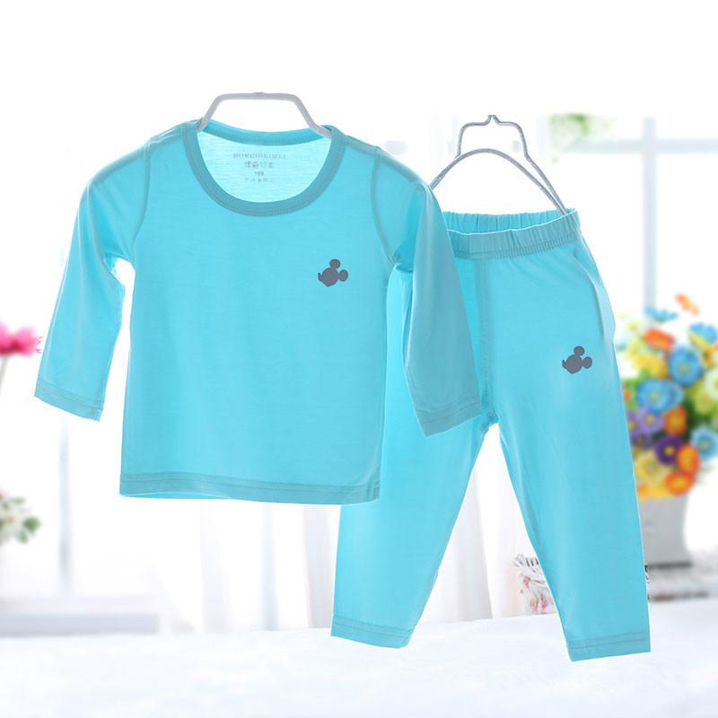 儿童莫代尔睡衣夏季男童女童长袖薄款家居服宝宝套装亲子装空调服