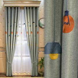 儿童房窗帘短款男孩卧室女孩北欧简约飘窗男童房遮光儿童窗帘布