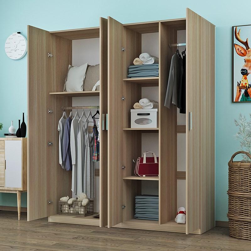 。衣柜实木234门简约现代经济型板式卧室儿童组装木质衣橱租房柜11-03新券