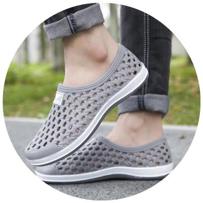 韩国男士洞洞鞋沙滩鞋塑料胶可泡水塑溪凉鞋男中年人有跟防滑爸爸