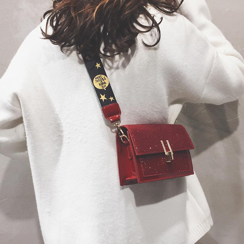 小包包女新款百搭韩版简约小方包森系学生chic宽肩带斜挎包