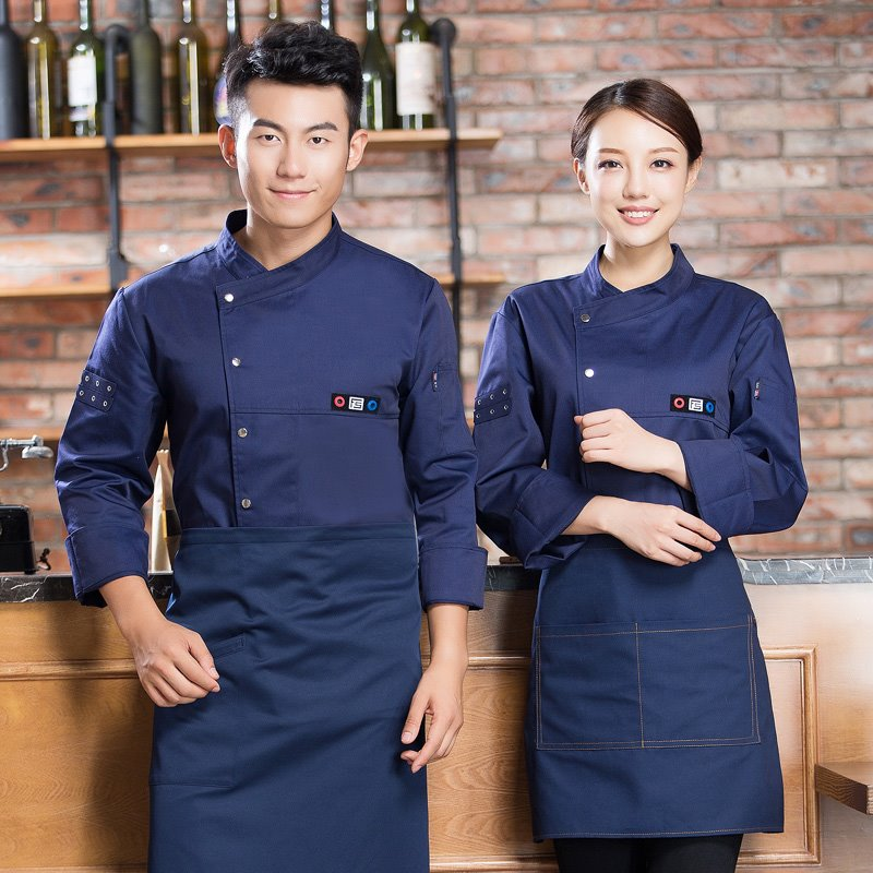 New hotel chefs long sleeve barbecue restaurant tea house autumn and winter clothes fast food restaurant chefs uniform white large size sheet