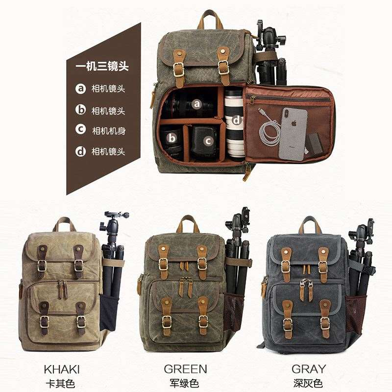 Best selling hot Zhitai photography bag Camera SLR double shoulder photography backpack waterproof large capacity wax dyed Canvas Backpack