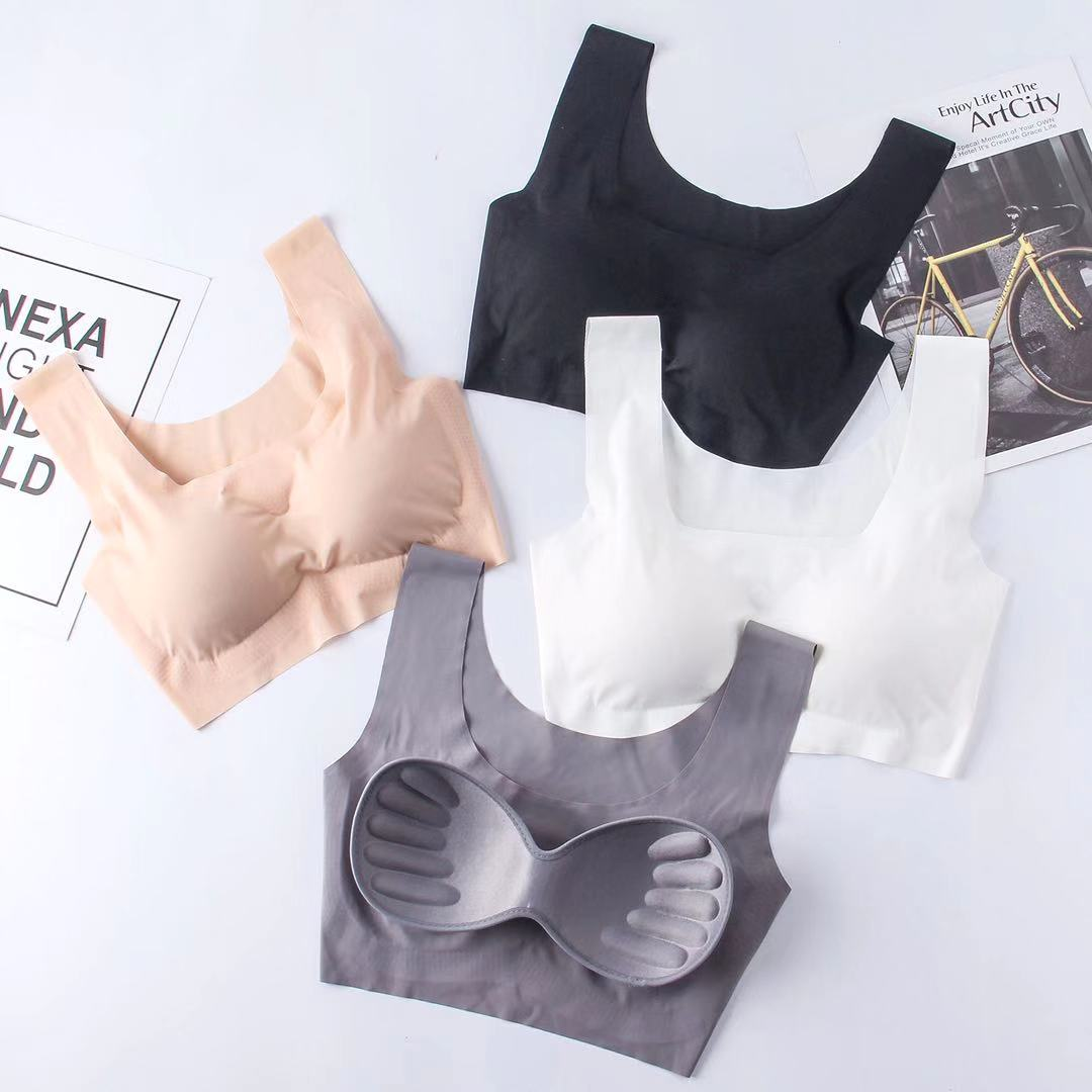 Japanese underwear, womens bra, gathered without steel ring bra, traceless sleep, beautiful back vest style sports, large student summer