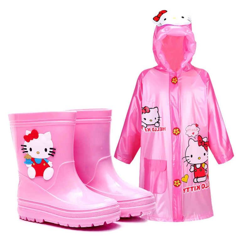 小孩雨鞋防滑男女中筒雨靴儿童雨衣雨鞋套装小学生水鞋加厚底大童,可领取3元天猫优惠券