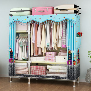 简易衣柜钢管加粗加固加厚涤棉布套经济型简约衣橱双人加大布衣柜
