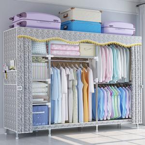 简易布衣柜钢管加粗加固收纳布艺组装简约现代柜子家用卧室挂衣橱