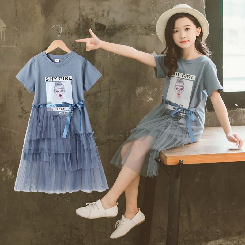 女童连衣裙夏装2020新款韩版超洋气网红中大童儿童装蓬蓬纱裙子夏