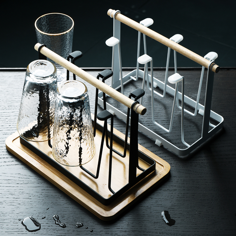 杯架置物架倒挂水杯挂架子家用北欧放创意托盘沥玻璃杯子架六头的