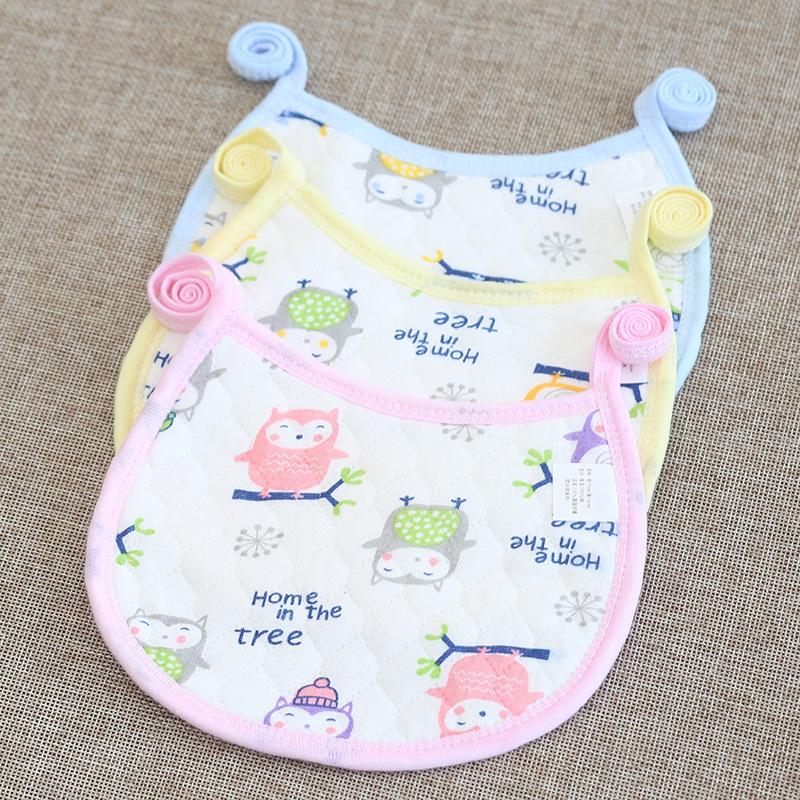 宝宝防水口水巾全棉新生儿圆形系带可爱卡通围嘴母婴用品婴儿围兜