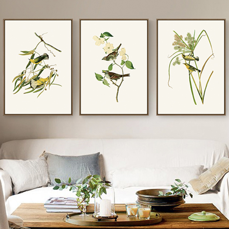 Small family dining room wall decoration painting living room mural simple modern Audubon bird hanging painting warm style
