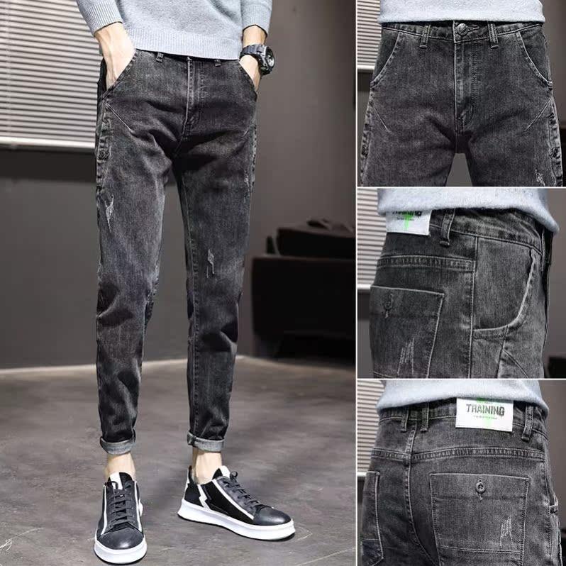 Low waist dark winter slim casual long loose trendsetter 2021 hip lift wear-resistant Slim Fit Jeans Men
