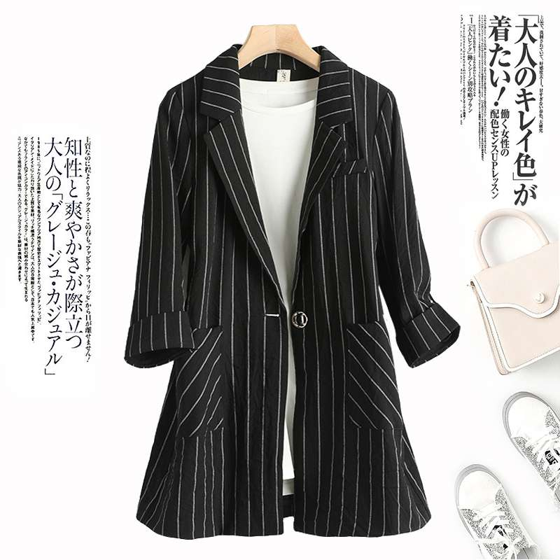 New womens medium and long-term 2020 summer leisure and self-cultivation temperament versatile thin small suit stripe suit coat