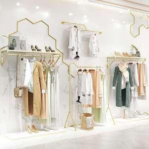远纳金色服装店展示架女装店陈列货架铁艺落地式挂衣架上墙衣服架