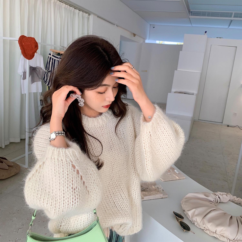 茸茸灯笼袖毛衣~法式棒针羊毛马海毛混纺宽松慵懒风针织衫女