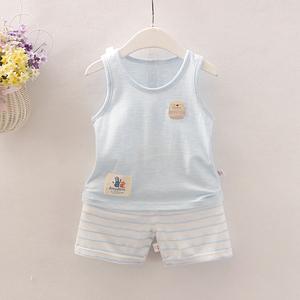宝宝夏季背心短裤新生婴儿幼儿无袖夏天套装薄款男童女童小孩夏装
