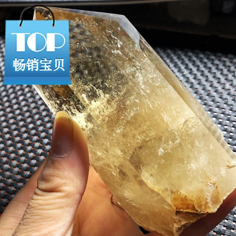 包邮 天然黄水晶六棱柱原石 招财黄水晶原f石摆件 天然黄无优化