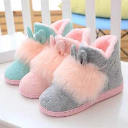 孕产妇中学生女防滑月子鞋家居棉鞋韩版鞋女卡通家居鞋可爱中高筒