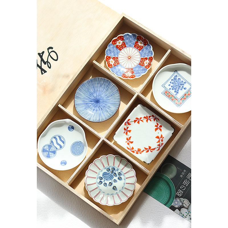现货日本进口有田烧六种花型小菜浅碟木盒装日式料理小碟礼盒礼物
