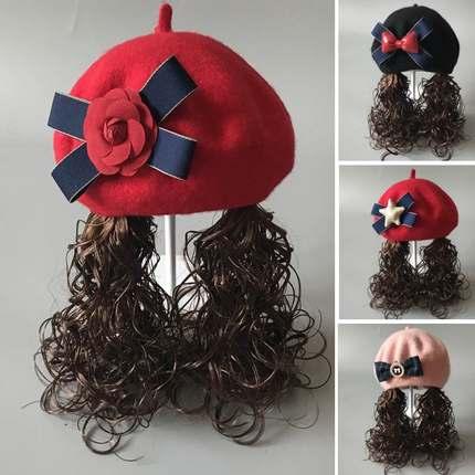 秋冬天婴儿童帽子贝雷帽1女宝宝2假发帽子4小女孩羊毛呢6假发帽