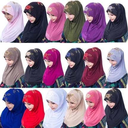 防风小方巾头戴防尘套头少数民族回族头巾穆斯林头巾包头女帽薄款