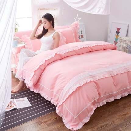 韩版四件套公主风床裙式纯色床单被套2.0米床上用品床罩式荷叶边