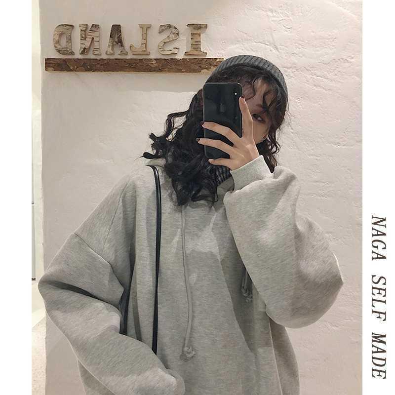 NAGA自制2019秋冬新款加绒灰色连帽卫衣女宽松慵懒风韩版套头外套