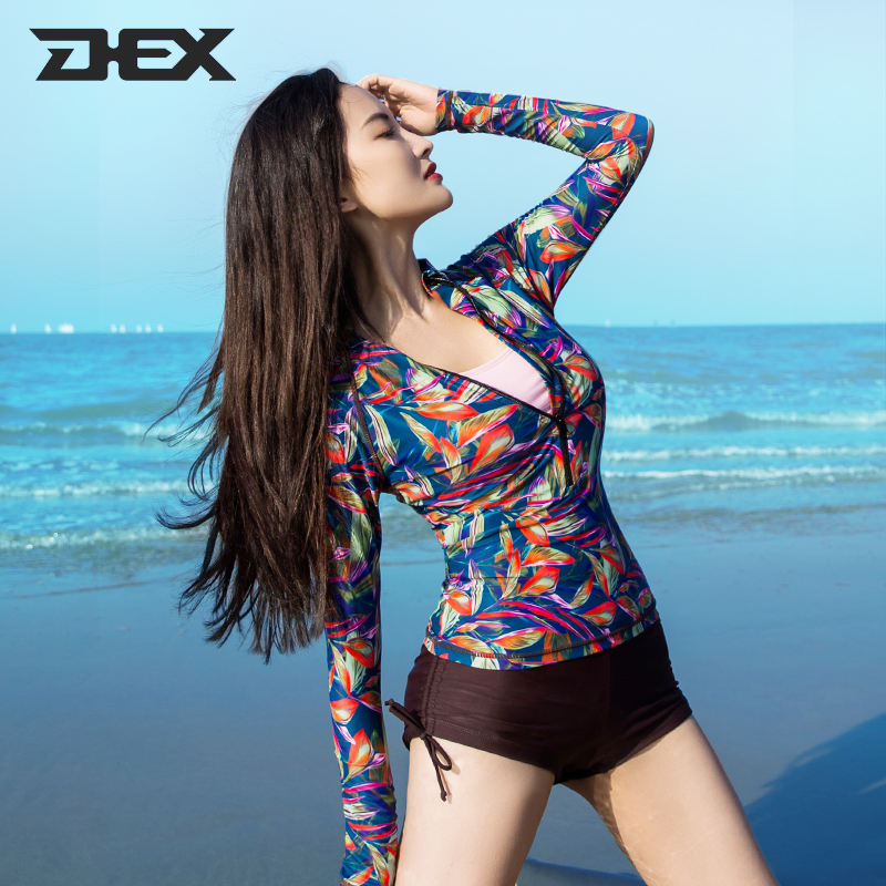 DEX diving suit womens split suit broken flower snorkeling long sleeve sunscreen swimsuit fast drying thin drifting surfer