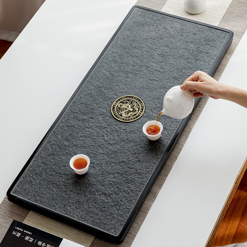 满376.00元可用188元优惠券茶具套装天然乌金石茶盘一体办公室用家用整块高档茶台排水黑金石