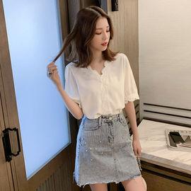 衬衫女设计感小众上衣七分袖雪纺衫短袖女韩版宽松夏t恤蕾丝衬衣