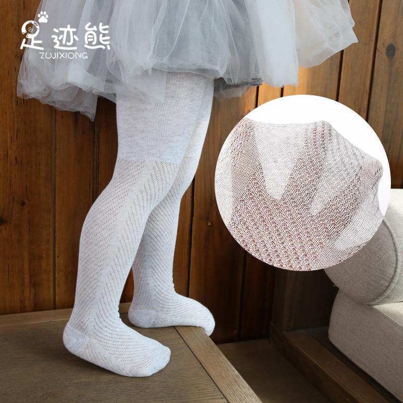 宝宝连裤袜0-1-3岁婴儿夏季薄款网眼纯棉大PP开档儿童防蚊打底裤