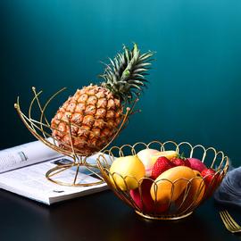 北欧创意铁艺水果篮轻奢沥水果盘家用装饰果篓简约水果零食收纳篮