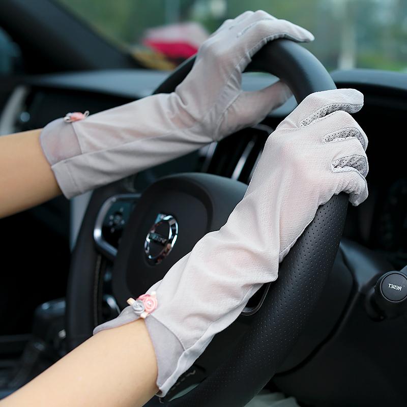 春秋夏季透气薄款冰丝手套女夏天开车驾驶防紫外线护臂套袖子