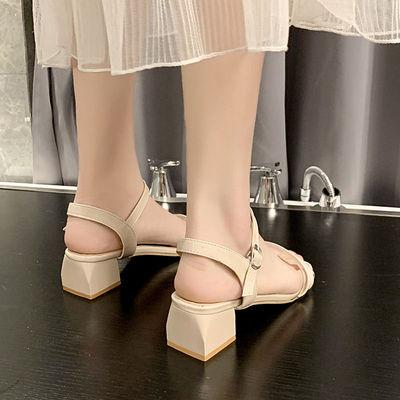 35-43 大码女鞋晚晚凉鞋女中跟41网红粗跟百搭一字扣罗马高跟鞋4